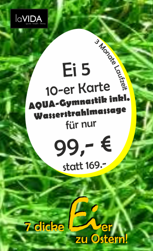 Aqua-Fitness 10-er Karte inkl. Wasserstrahlmassage 3 Monate Laufzeit